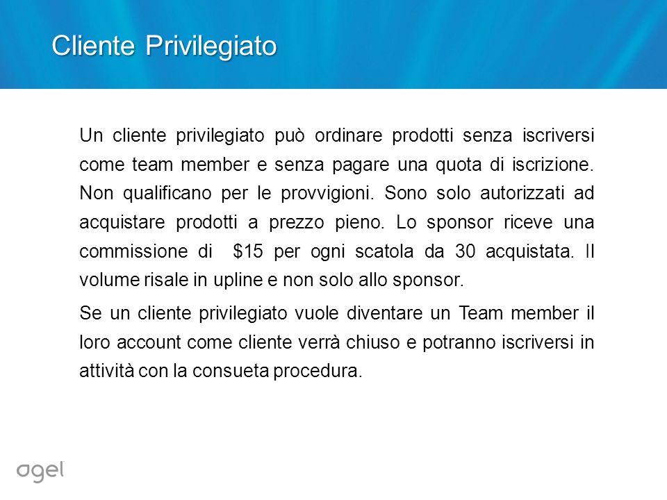 Cliente Privilegiato Un cliente privilegiato può ordinare prodotti senza iscriversi come team member e senza pagare una quota di iscrizione. Non quali
