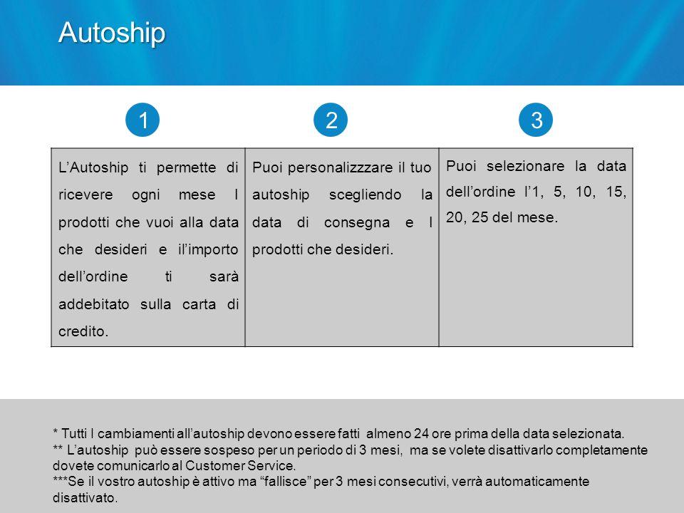 LAutoship ti permette di ricevere ogni mese I prodotti che vuoi alla data che desideri e ilimporto dellordine ti sarà addebitato sulla carta di credit