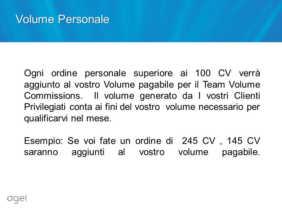Ogni ordine personale superiore ai 100 CV verrà aggiunto al vostro Volume pagabile per il Team Volume Commissions. Il volume generato da I vostri Clie