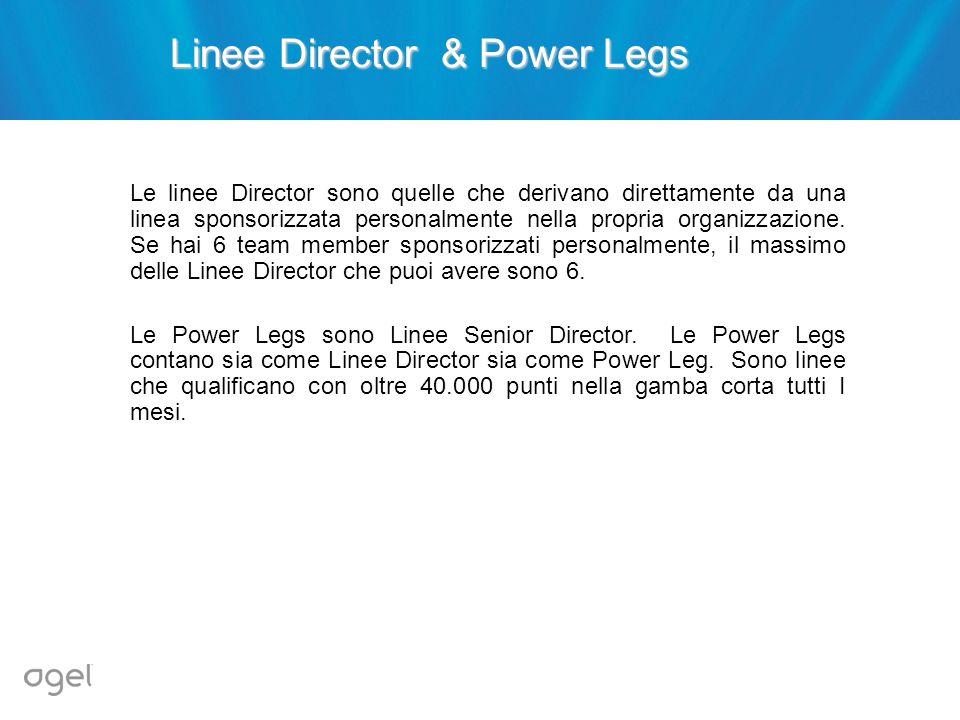 Linee Director & Power Legs Le linee Director sono quelle che derivano direttamente da una linea sponsorizzata personalmente nella propria organizzazi