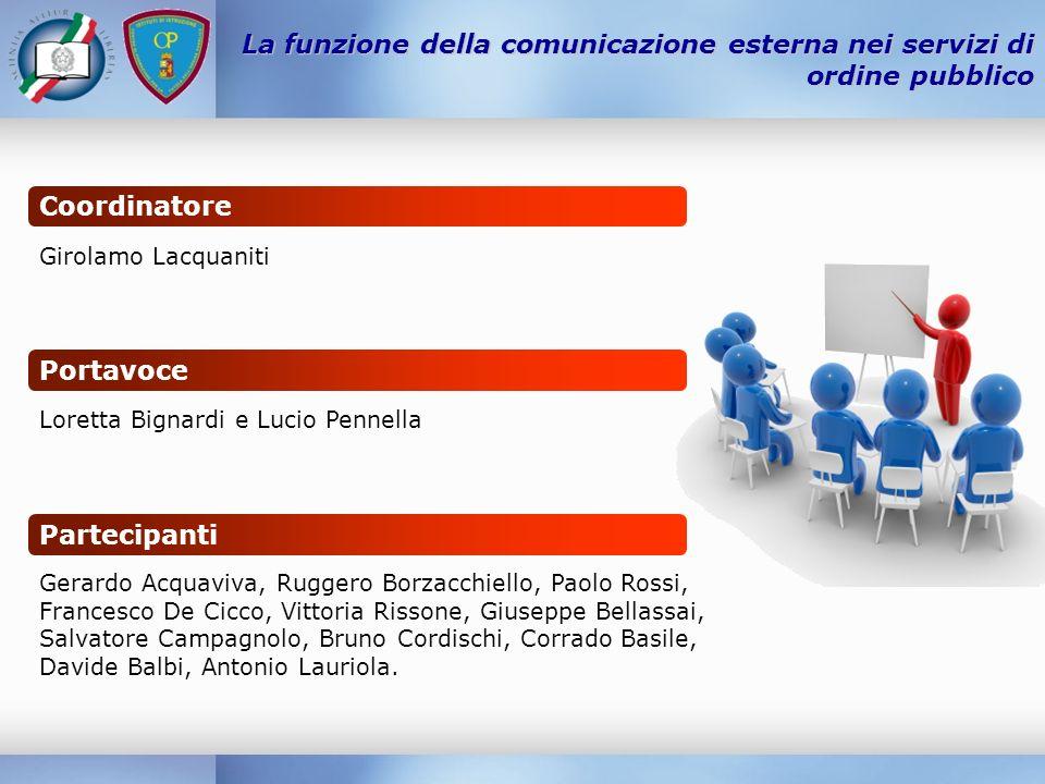 La funzione della comunicazione esterna nei servizi di ordine pubblico Coordinatore Portavoce Partecipanti Girolamo Lacquaniti Loretta Bignardi e Luci