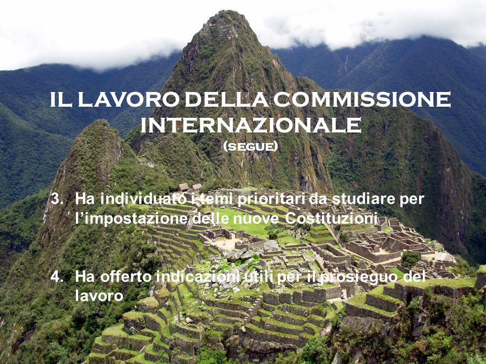 IL LAVORO DELLA COMMISSIONE INTERNAZIONALE (segue) 3.Ha individuato i temi prioritari da studiare per limpostazione delle nuove Costituzioni 4.Ha offerto indicazioni utili per il prosieguo del lavoro
