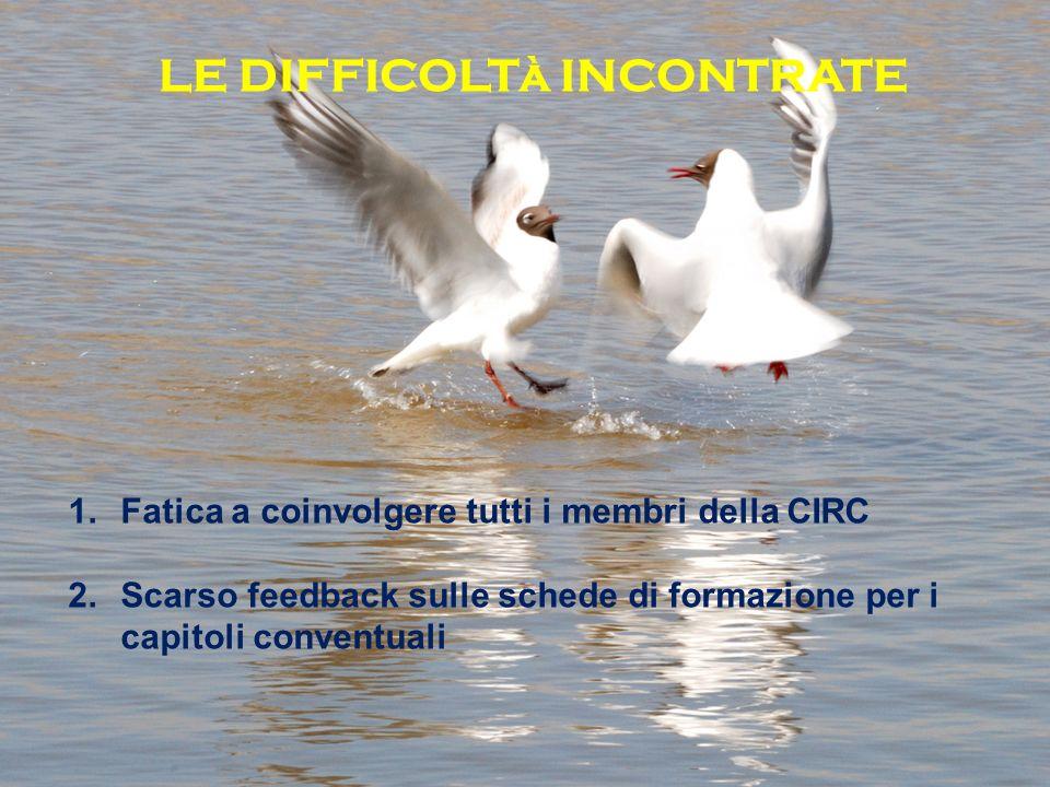 LE DIFFICOLTà INCONTRATE 1.Fatica a coinvolgere tutti i membri della CIRC 2.Scarso feedback sulle schede di formazione per i capitoli conventuali