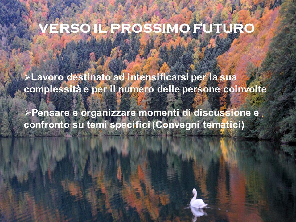 VERSO IL PROSSIMO FUTURO Lavoro destinato ad intensificarsi per la sua complessità e per il numero delle persone coinvolte Pensare e organizzare momenti di discussione e confronto su temi specifici (Convegni tematici)
