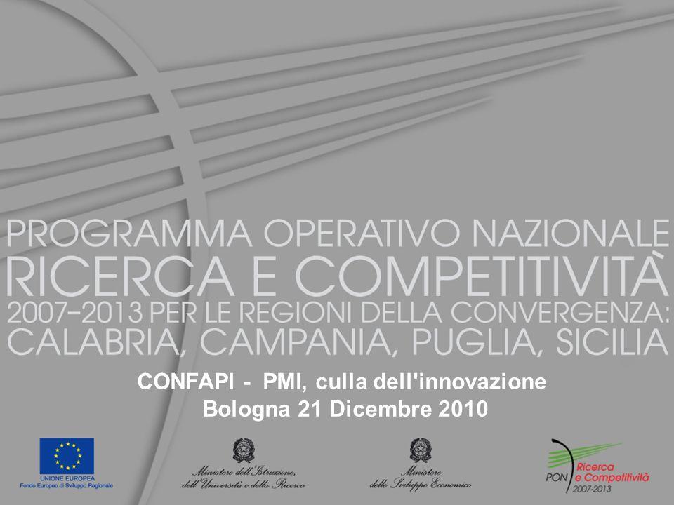 Programma Operativo Nazionale (PON) Ricerca e Competitività 2007-2013 F INANZIATO CON RISORSE EUROPEE (F ONDO EUROPEO DI SVILUPPO REGIONALE ) E NAZIONALI, CON UN IMPEGNO COMPLESSIVO DI 6.205 MILIONI DI E URO DI CUI 3.232 MIUR E 2.972 M I SE P ROMUOVE INTERVENTI DI RICERCA E I NNOVAZIONE NELLE R EGIONI DELLA C ONVERGENZA (C AMPANIA, C ALABRIA, P UGLIA E S ICILIA )