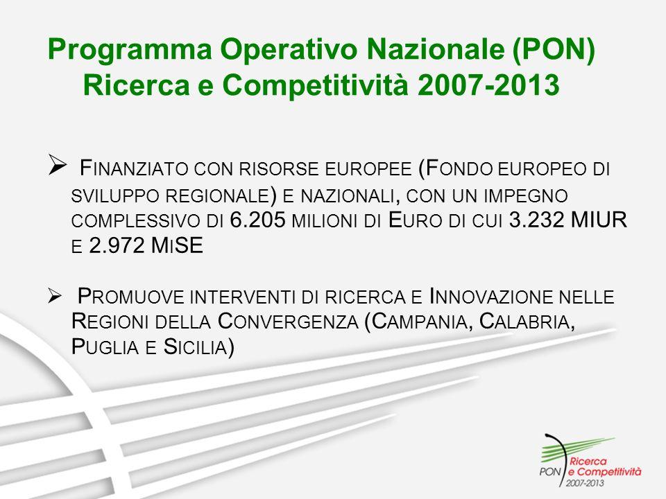 Programma Operativo Nazionale (PON) Ricerca e Competitività 2007-2013 F INANZIATO CON RISORSE EUROPEE (F ONDO EUROPEO DI SVILUPPO REGIONALE ) E NAZION
