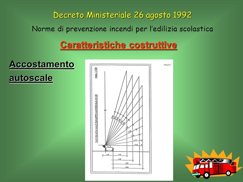 Caratteristiche costruttive Accostamentoautoscale Decreto Ministeriale 26 agosto 1992 Norme di prevenzione incendi per ledilizia scolastica