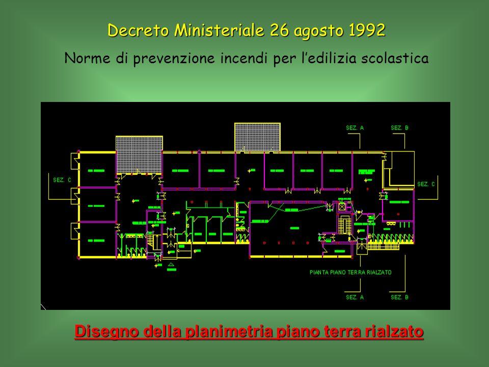 Disegno della planimetria piano terra rialzato Decreto Ministeriale 26 agosto 1992 Norme di prevenzione incendi per ledilizia scolastica