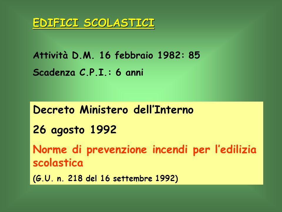 Attività D.M. 16 febbraio 1982: 85 Scadenza C.P.I.: 6 anni Decreto Ministero dellInterno 26 agosto 1992 Norme di prevenzione incendi per ledilizia sco