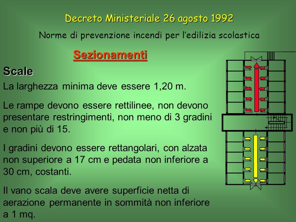 SezionamentiScale La larghezza minima deve essere 1,20 m. Le rampe devono essere rettilinee, non devono presentare restringimenti, non meno di 3 gradi