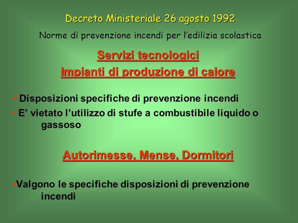 Servizi tecnologici Impianti di produzione di calore Disposizioni specifiche di prevenzione incendi E vietato lutilizzo di stufe a combustibile liquid