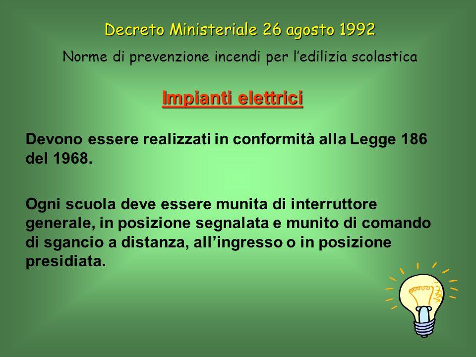 Impianti elettrici Devono essere realizzati in conformità alla Legge 186 del 1968. Ogni scuola deve essere munita di interruttore generale, in posizio