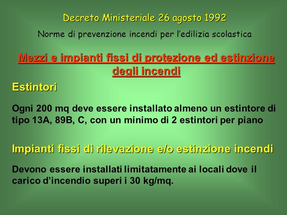 Mezzi e impianti fissi di protezione ed estinzione degli incendi Estintori Ogni 200 mq deve essere installato almeno un estintore di tipo 13A, 89B, C,