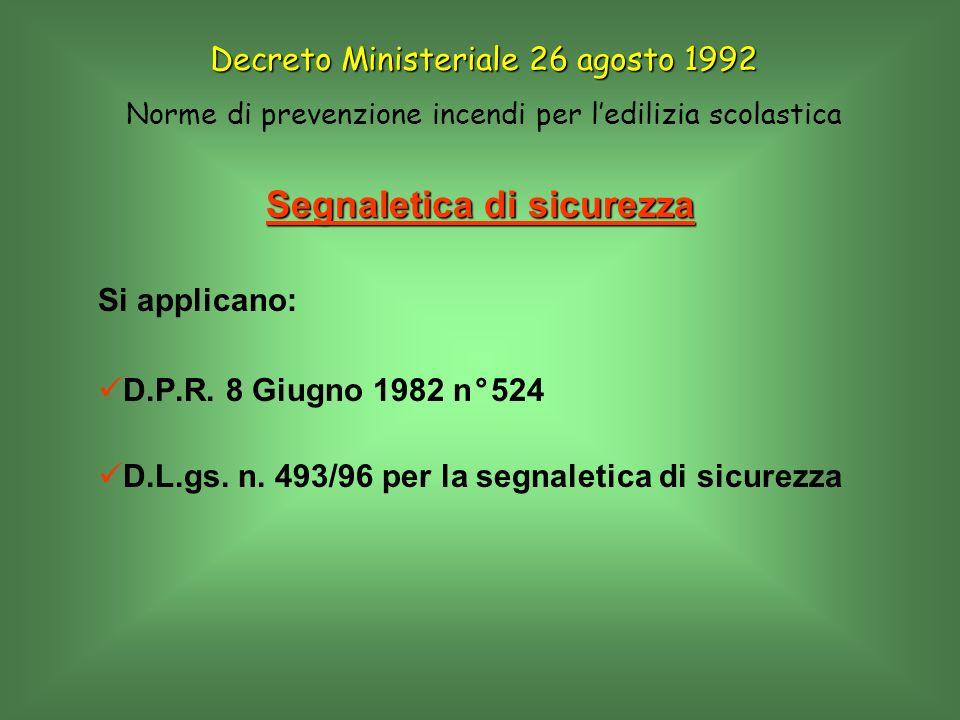 Segnaletica di sicurezza Si applicano: D.P.R. 8 Giugno 1982 n°524 D.L.gs. n. 493/96 per la segnaletica di sicurezza Decreto Ministeriale 26 agosto 199