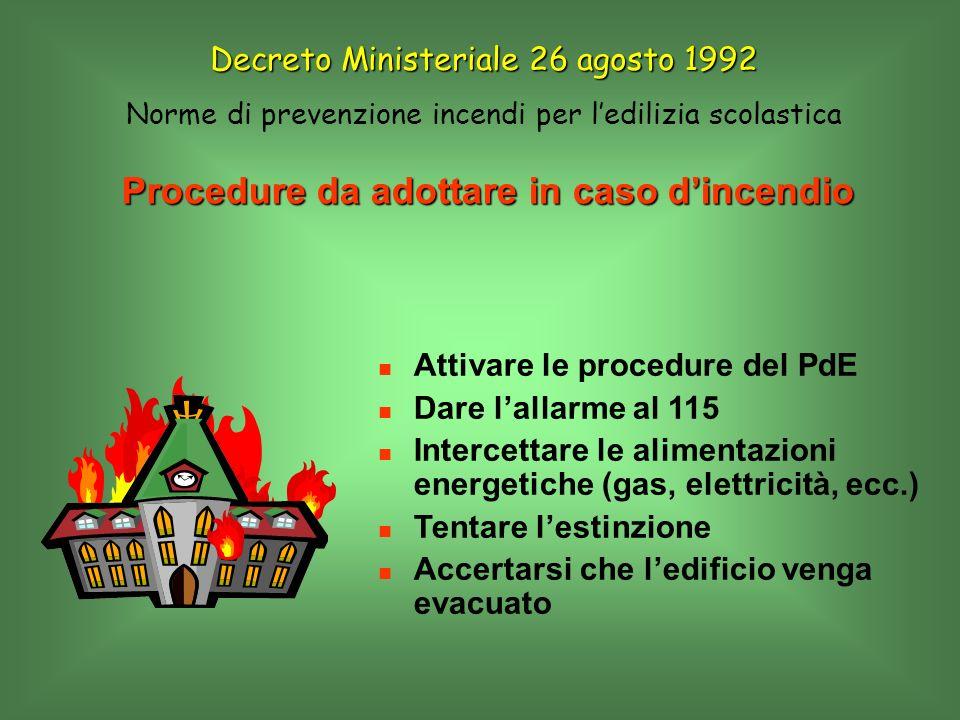 Procedure da adottare in caso dincendio Attivare le procedure del PdE Dare lallarme al 115 Intercettare le alimentazioni energetiche (gas, elettricità