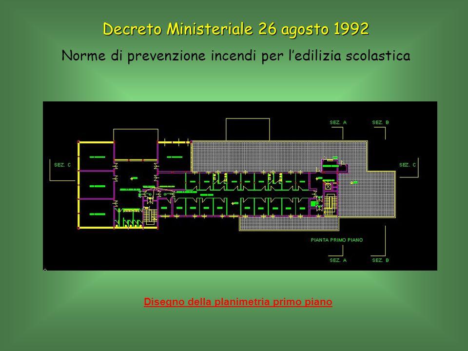 Disegno della planimetria primo piano Decreto Ministeriale 26 agosto 1992 Norme di prevenzione incendi per ledilizia scolastica