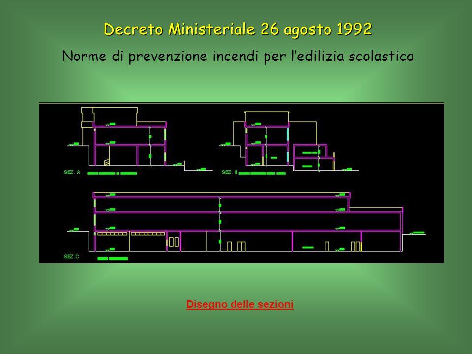 Disegno delle sezioni Decreto Ministeriale 26 agosto 1992 Norme di prevenzione incendi per ledilizia scolastica