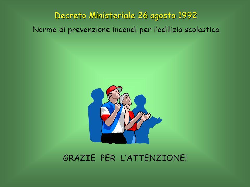GRAZIE PER LATTENZIONE! Decreto Ministeriale 26 agosto 1992 Norme di prevenzione incendi per ledilizia scolastica