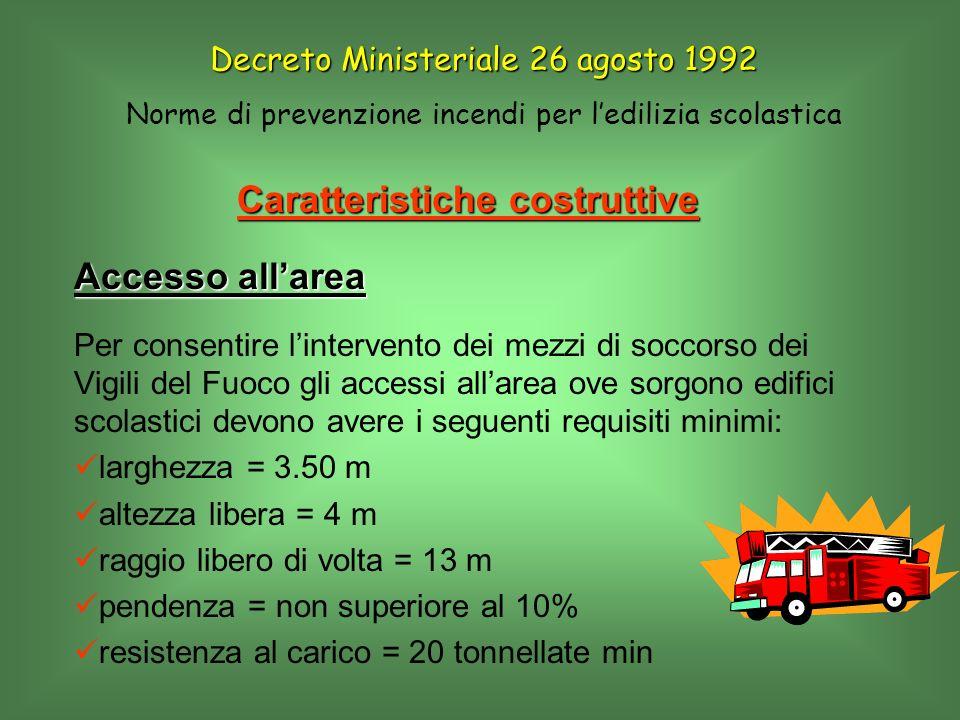 Decreto Ministeriale 26 agosto 1992 Norme di prevenzione incendi per ledilizia scolastica Procedura di allarme