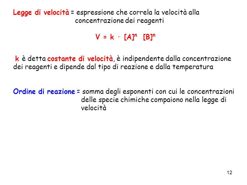 12 Legge di velocità = espressione che correla la velocità alla concentrazione dei reagenti V = k · [A] n [B] n k è detta costante di velocità, è indi