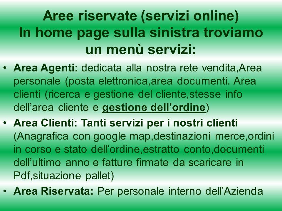 Aree riservate (servizi online) In home page sulla sinistra troviamo un menù servizi: Area Agenti: dedicata alla nostra rete vendita,Area personale (posta elettronica,area documenti.