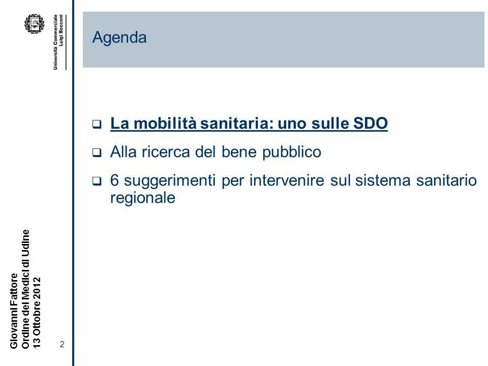2 Giovanni Fattore Ordine dei Medici di Udine 13 Ottobre 2012 La mobilità sanitaria: uno sulle SDO Alla ricerca del bene pubblico 6 suggerimenti per intervenire sul sistema sanitario regionale Agenda