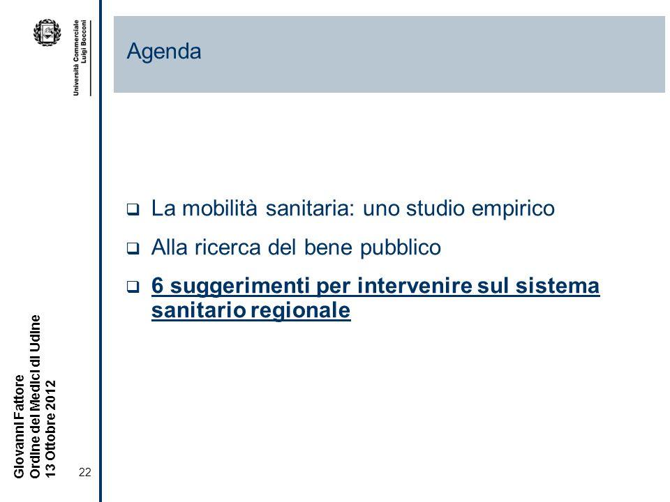 22 Giovanni Fattore Ordine dei Medici di Udine 13 Ottobre 2012 La mobilità sanitaria: uno studio empirico Alla ricerca del bene pubblico 6 suggerimenti per intervenire sul sistema sanitario regionale Agenda