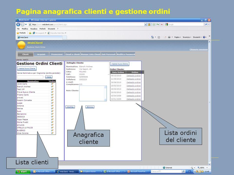 Pagina anagrafica clienti e gestione ordini Lista clienti Anagrafica cliente Lista ordini del cliente