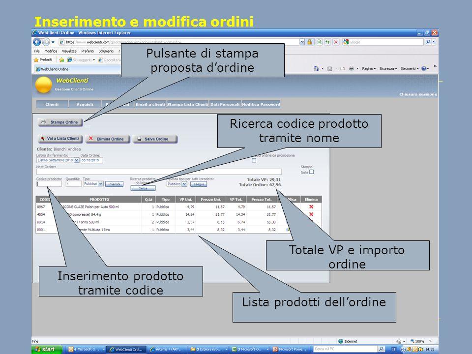 Inserimento e modifica ordini Inserimento prodotto tramite codice Lista prodotti dellordine Pulsante di stampa proposta dordine Totale VP e importo or