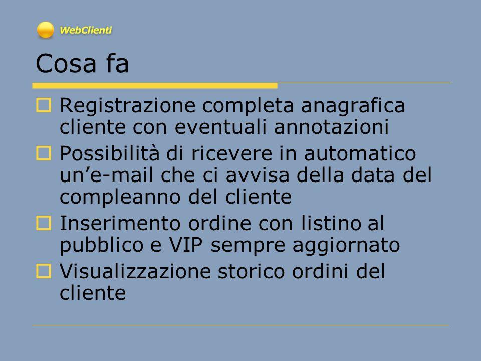 Stampa modulo proposta dordine per il cliente Dati incaricato Dati Cliente Note ordine Visualizzazione punti promozione