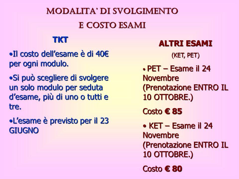 MODALITA DI SVOLGIMENTO e costo ESAMI TKT Il costo dellesame è di 40 per ogni modulo.Il costo dellesame è di 40 per ogni modulo. Si può scegliere di s