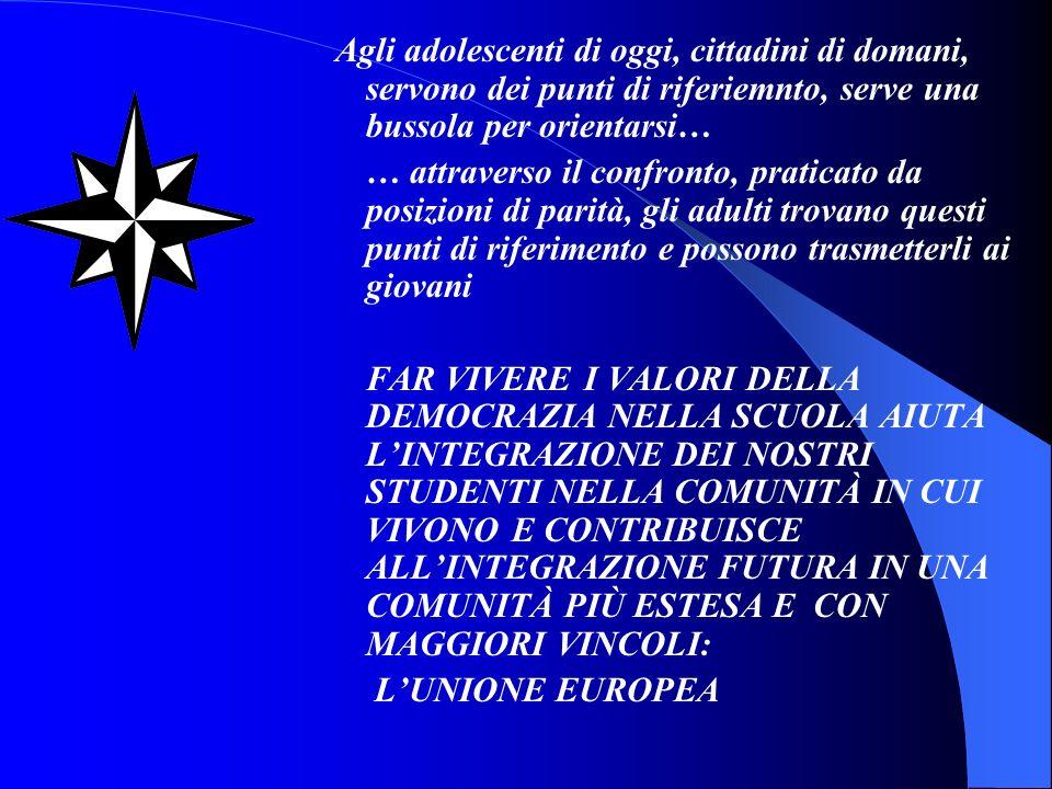 PROGETTO UNA SCUOLA APERTA ALLEUROPA DEL DOMANI (2004-2007) FINALITÀ: CONOSCERE LE ISTITUZIONI E LE POLITICHE EUROPEE TEMATICHE: STORIA DELLUNIONE EUROPEA, RUOLO DELLE ISTITUZIONI, DIRETTIVE EUROPEE METODOLOGIA: VISITE DI PROGETTO ALLE SEDI ISTITUZIONALI EUROPEE, COLLABORAZIONE CON LE RAPPRESENTANZE ITALIANE DELLU.E., ADESIONE A PROGETTI ISTITUZIONALI SUL TEMA, CONCORSI INTERNI ED ESTERNI, VISITE A GRANDI MOSTRE E A MUSEI