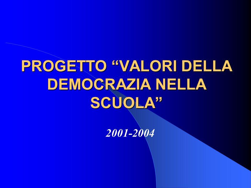 PROGETTO VALORI DELLA DEMOCRAZIA NELLA SCUOLA 2001-2004