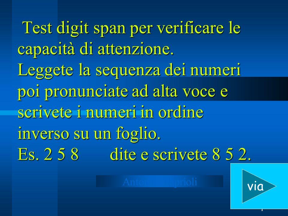 1 Test digit span per verificare le capacità di attenzione. Leggete la sequenza dei numeri poi pronunciate ad alta voce e scrivete i numeri in ordine