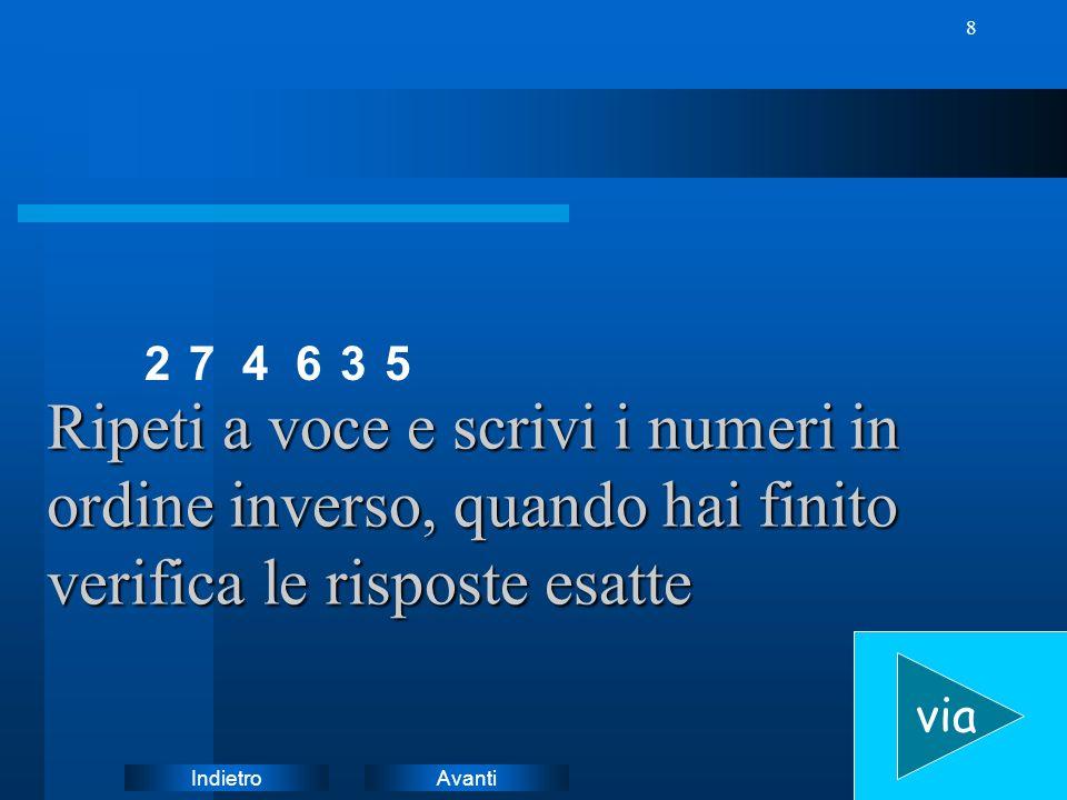 AvantiIndietro 8 7 Ripeti a voce e scrivi i numeri in ordine inverso, quando hai finito verifica le risposte esatte via 24635
