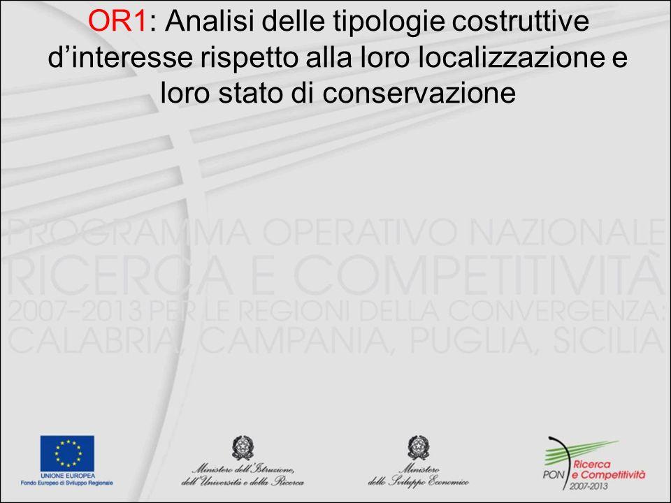 OR1: Analisi delle tipologie costruttive dinteresse rispetto alla loro localizzazione e loro stato di conservazione