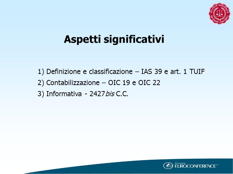 Aspetti significativi 1)Definizione e classificazione – IAS 39 e art. 1 TUIF 2)Contabilizzazione – OIC 19 e OIC 22 3)Informativa - 2427bis C.C.