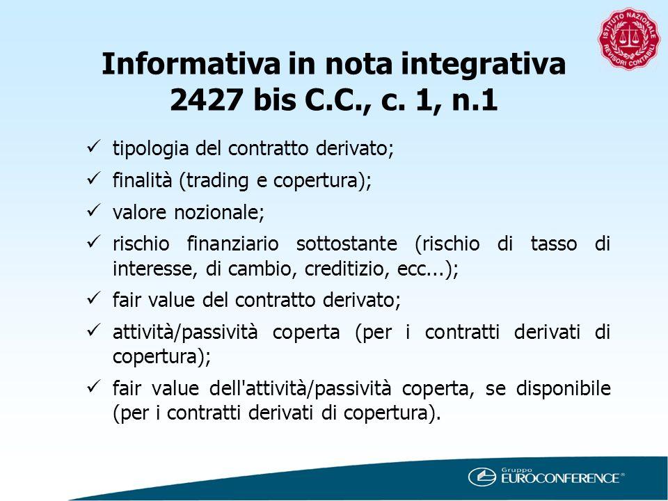 Informativa in nota integrativa 2427 bis C.C., c. 1, n.1 tipologia del contratto derivato; finalità (trading e copertura); valore nozionale; rischio f