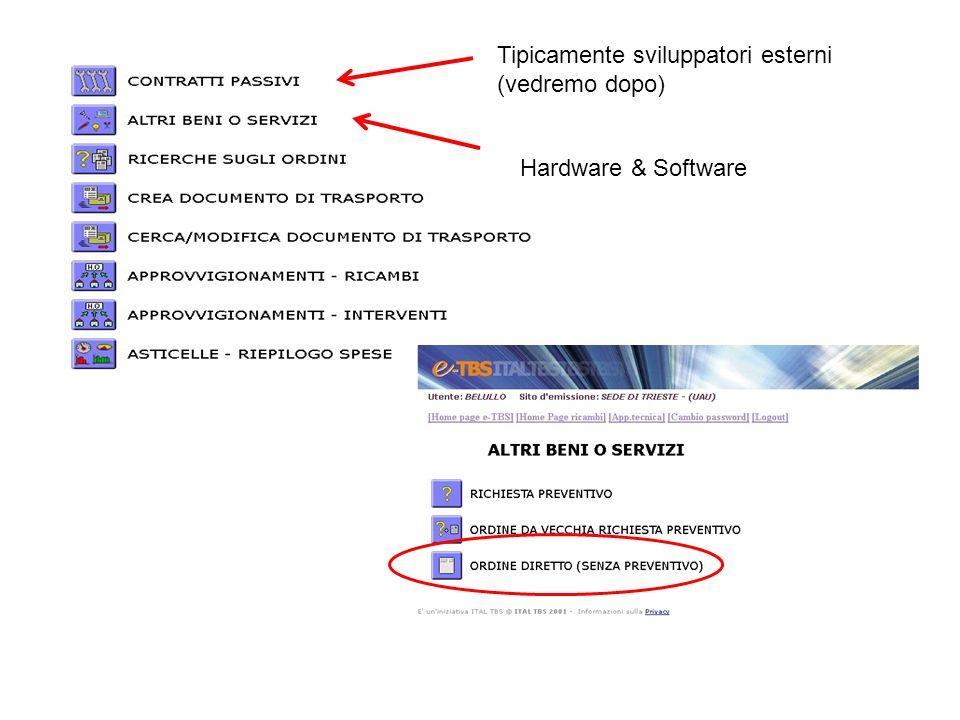 Tipicamente sviluppatori esterni (vedremo dopo) Hardware & Software