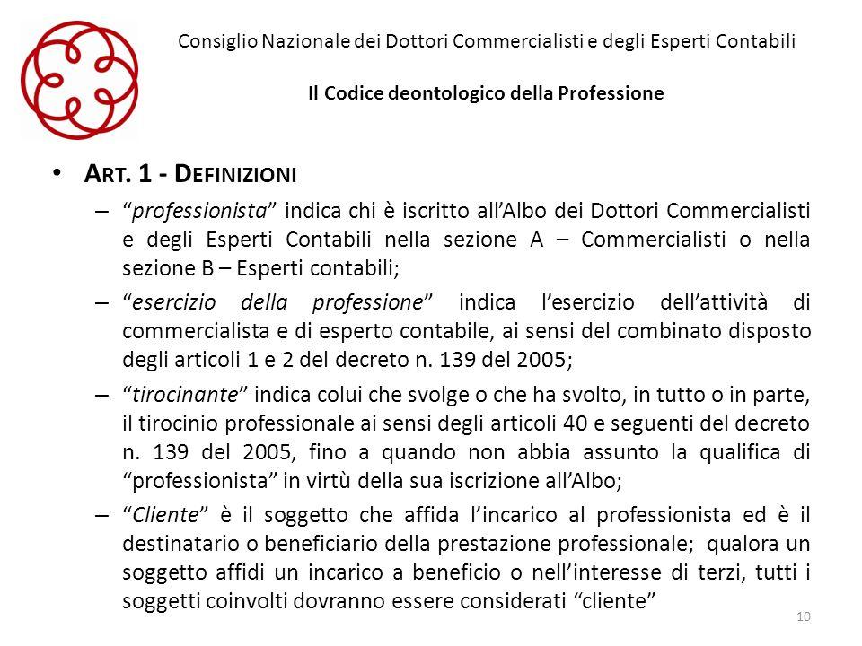 Consiglio Nazionale dei Dottori Commercialisti e degli Esperti Contabili Il Codice deontologico della Professione A RT. 1 - D EFINIZIONI –professionis