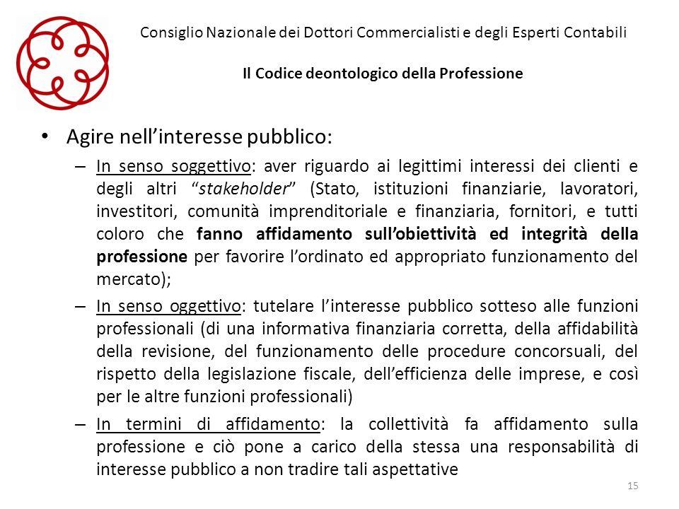 Consiglio Nazionale dei Dottori Commercialisti e degli Esperti Contabili Il Codice deontologico della Professione Agire nellinteresse pubblico: – In s