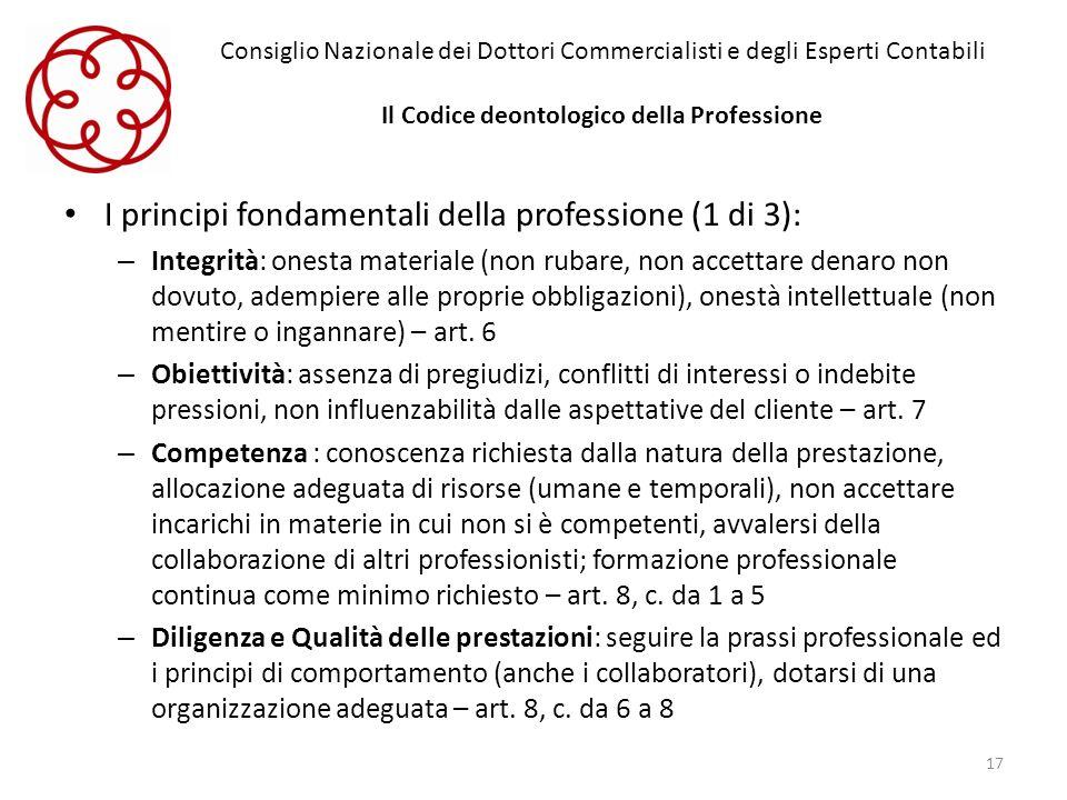 Consiglio Nazionale dei Dottori Commercialisti e degli Esperti Contabili Il Codice deontologico della Professione I principi fondamentali della profes