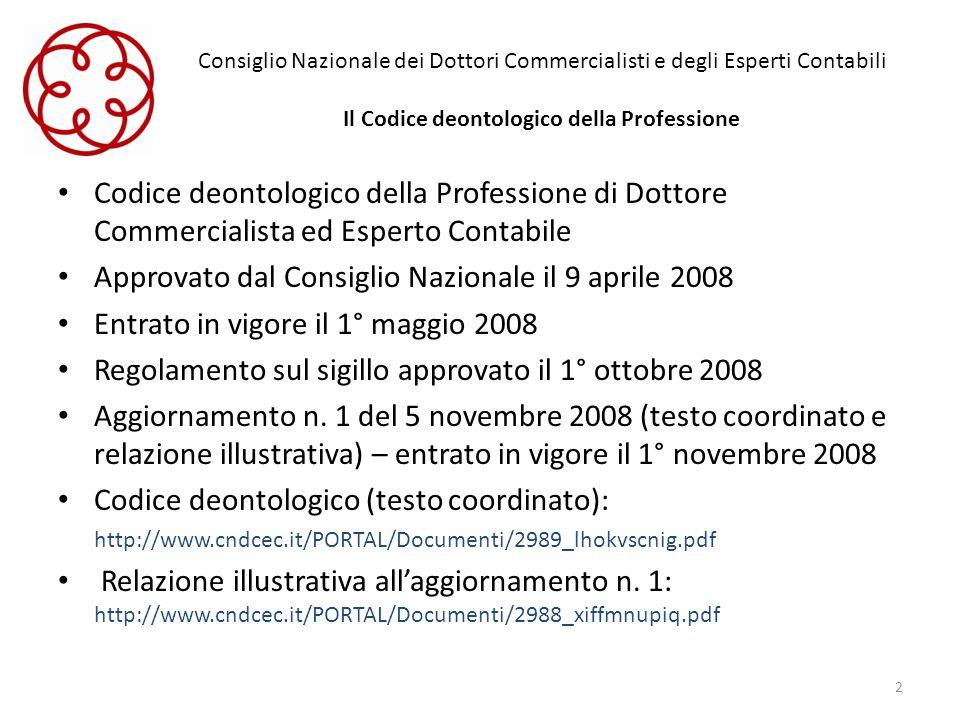 Consiglio Nazionale dei Dottori Commercialisti e degli Esperti Contabili Il Codice deontologico della Professione Codice deontologico della Profession