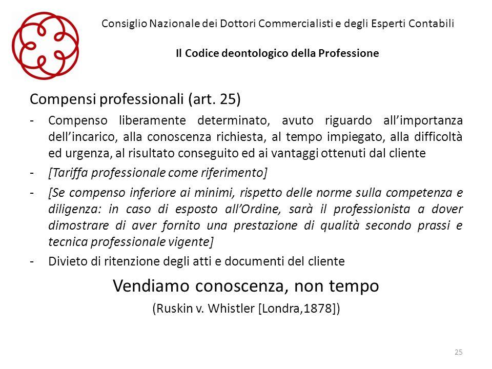 Consiglio Nazionale dei Dottori Commercialisti e degli Esperti Contabili Il Codice deontologico della Professione Compensi professionali (art. 25) -Co