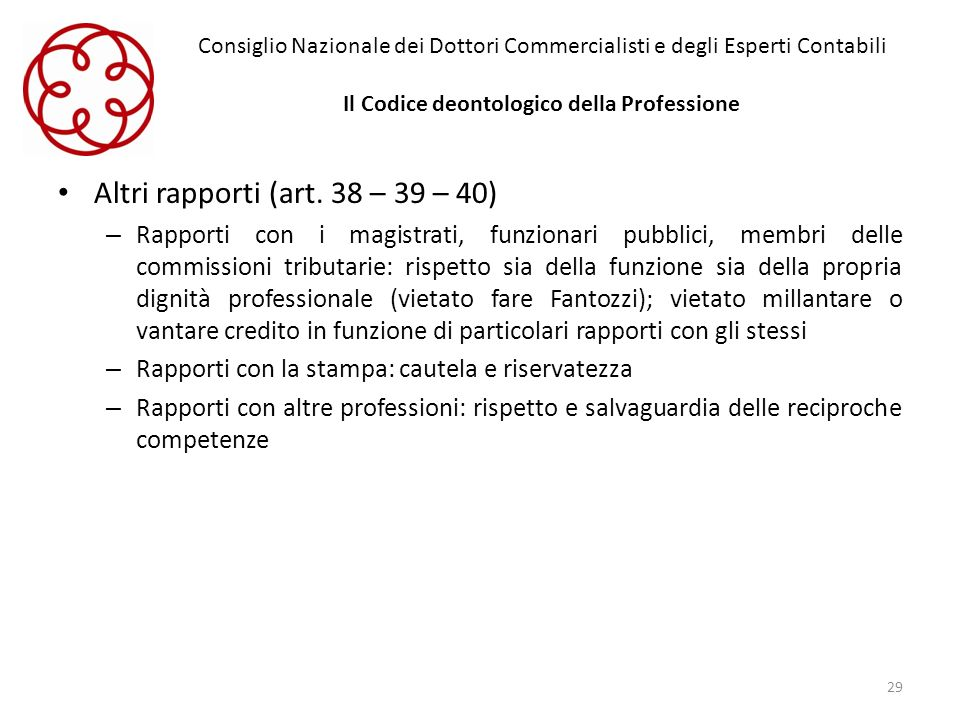 Consiglio Nazionale dei Dottori Commercialisti e degli Esperti Contabili Il Codice deontologico della Professione Altri rapporti (art. 38 – 39 – 40) –