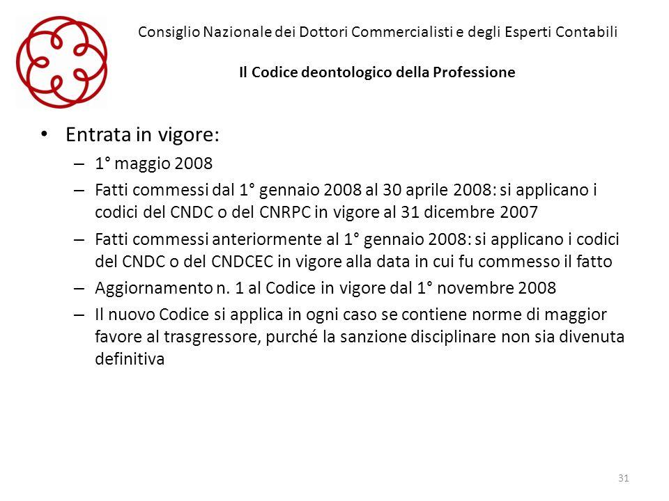 Consiglio Nazionale dei Dottori Commercialisti e degli Esperti Contabili Il Codice deontologico della Professione Entrata in vigore: – 1° maggio 2008