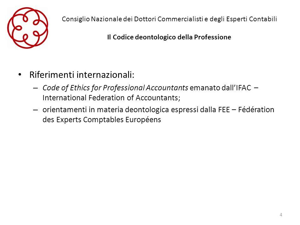 Consiglio Nazionale dei Dottori Commercialisti e degli Esperti Contabili Il Codice deontologico della Professione Riferimenti internazionali: – Code o