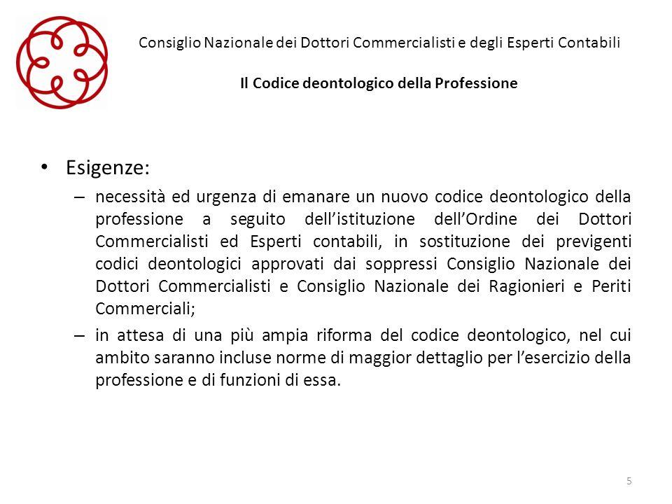 Consiglio Nazionale dei Dottori Commercialisti e degli Esperti Contabili Il Codice deontologico della Professione Esigenze: – necessità ed urgenza di