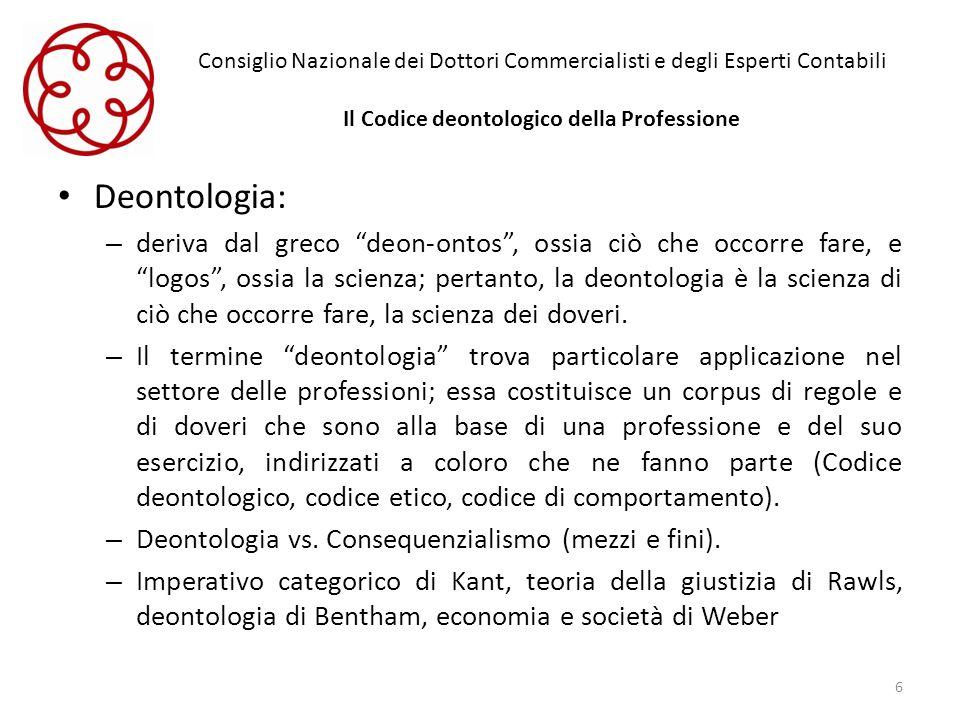 Consiglio Nazionale dei Dottori Commercialisti e degli Esperti Contabili Il Codice deontologico della Professione Deontologia: – deriva dal greco deon