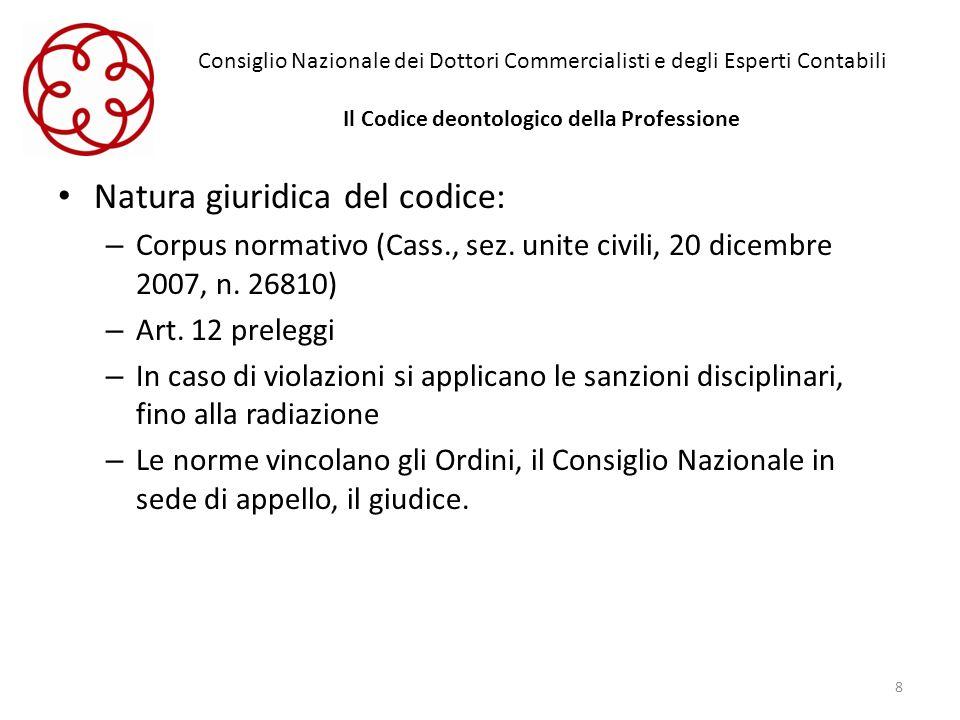 Consiglio Nazionale dei Dottori Commercialisti e degli Esperti Contabili Il Codice deontologico della Professione Natura giuridica del codice: – Corpu